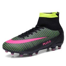 Big Size 39-46 Men Football Boots High Ankle Soccer Shoes Outdoor Firm Ground Superfly Soccer Cleats Training Football Shoes