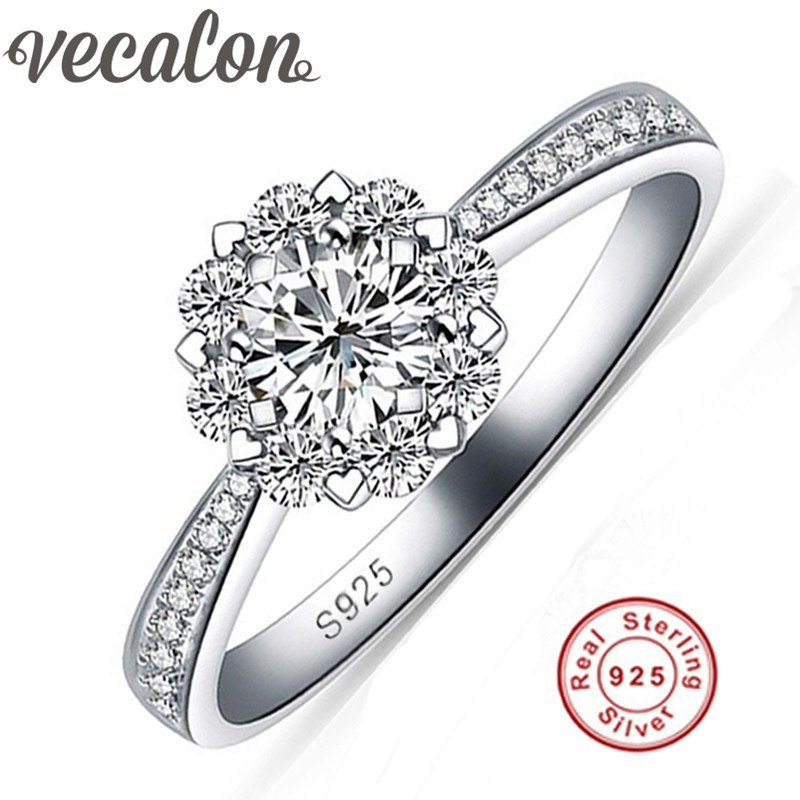 Vecalon 925-Sterling-Silver Ring Wedding-Band Engagement Flower-Design Women 1-Carat-5a zircon title=