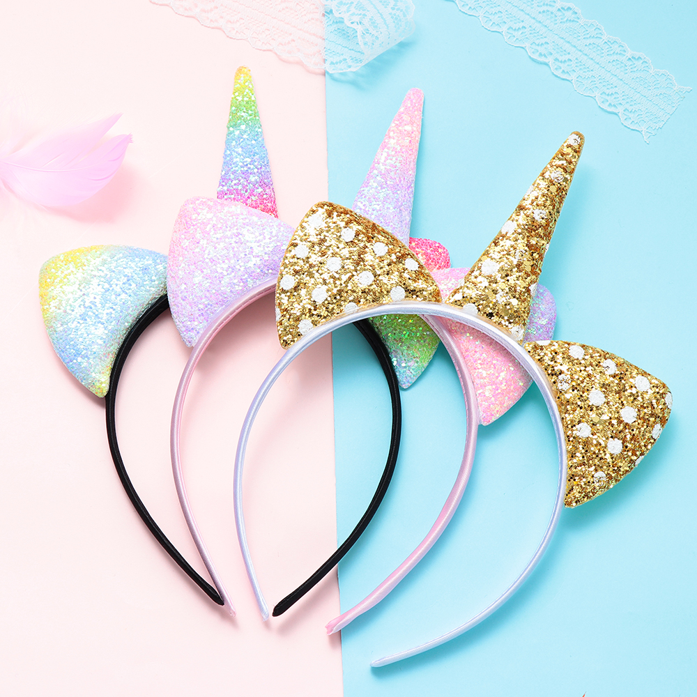 2019 Fashion 1pc Headband Glitter Unicorn Horn With Chiffon Flowers Hair Hoop Party Hair Styling Tool Braiders For Kids 6 Colors Choice Materials Braiders