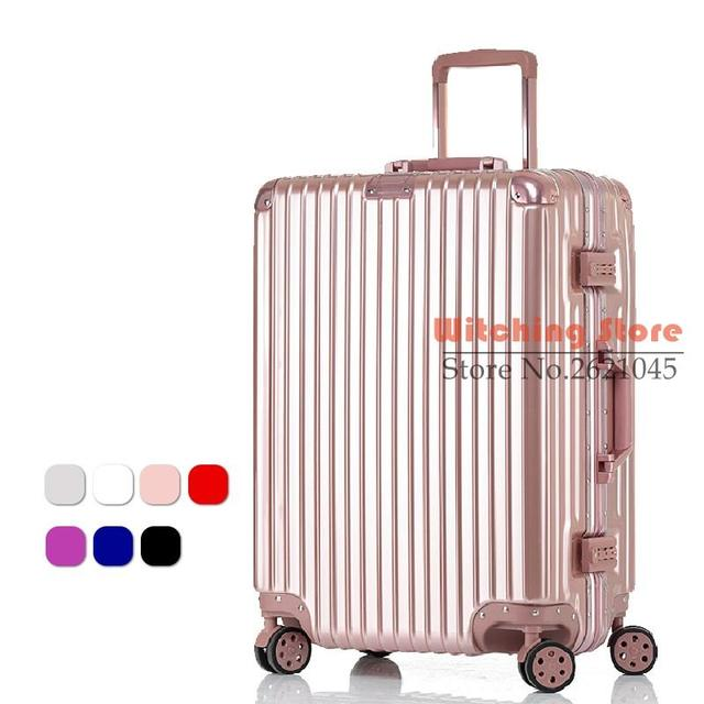 20 INCH 20# On with aluminum frame business luggage caster password box rose gold suitcase #EC FREE SHIPPING