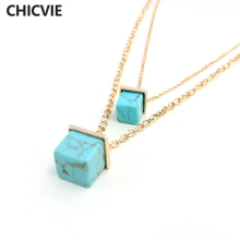 CHOKER 2016 Fashion Gold Chain Multilayer Necklaces With Square Turquoise Pendants Ethnic Statement Necklace Jewelry SNE160072 chenfan trendy womens necklace fashion necklace female jewelry wholesale gold stone statement necklaces pendants jewelry chain