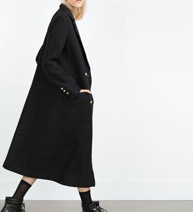 Popular Long Sleeve Solid Black Maxi Coat-Buy Cheap Long Sleeve