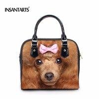 INSTANTARTS 3D Animal Face Women Leather Handbags Designer Woman Messenger Bags Cute Dog Owl Printed Ladies