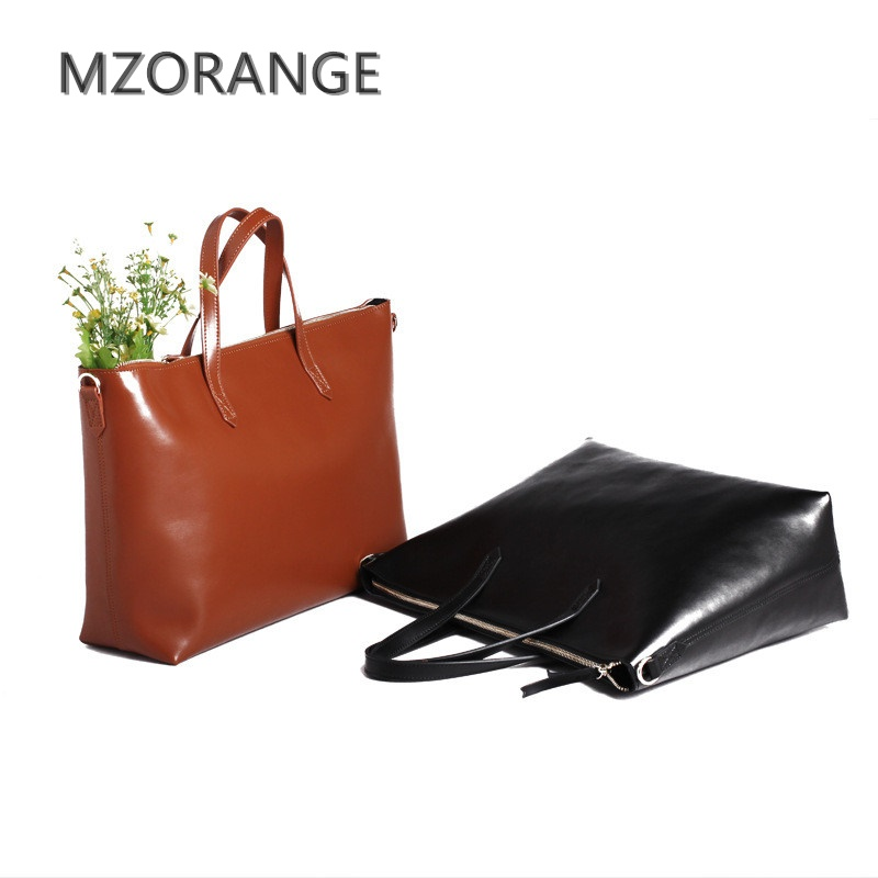 MZORANGE Genuine Leather Handbag Simple women Big bag Shoulder Bag Fashion Famous High capacity Leather lady Casual totes 2017 luxury genuine leather bag fashion brand designer women handbag cowhide leather shoulder composite bag casual totes