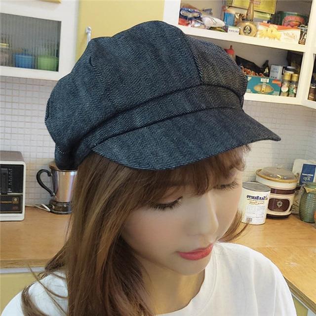 Women Leisure Octagonal Hat Ladies Denim Beret Hat Cowboy Cap Newsboy Gatsby Cap Octagonal Baker Peaked Beret Driving Hat