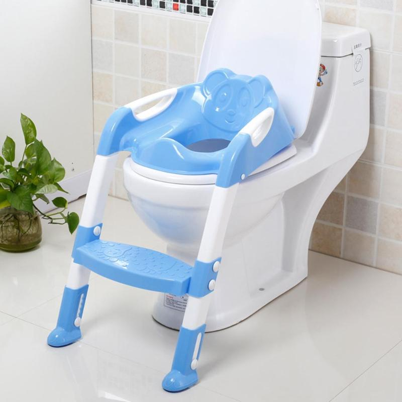 Folding Baby Potty Training Seat Infant Toilet Seat With Adjustable Ladder