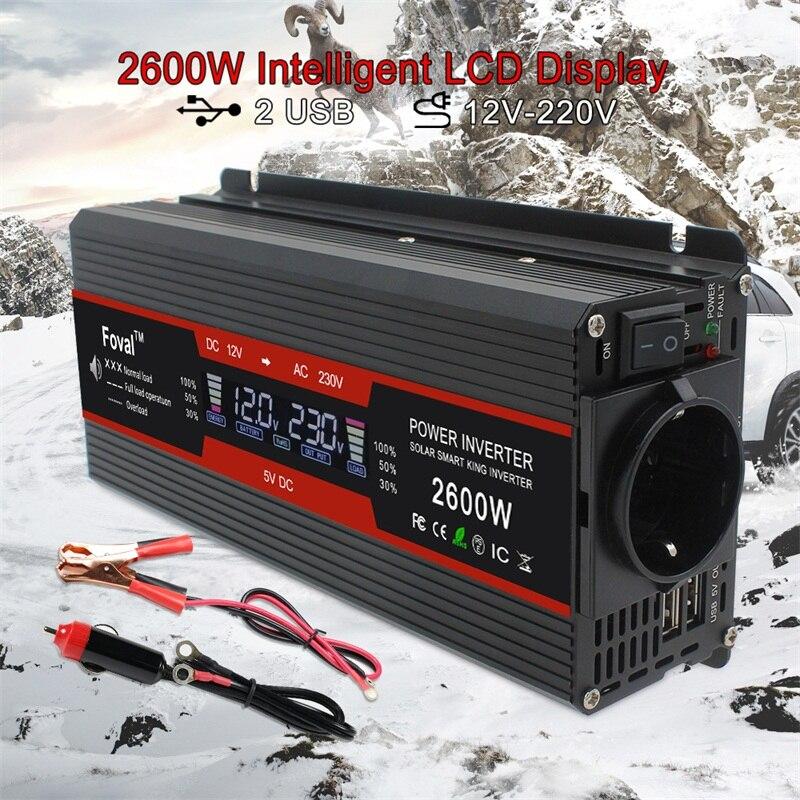 1500 W/2000 W/2600 W onduleur à onde sinusoïdale modifiée affichage LCD DC 12 V à AC 220 V solaire 2 USB transformateur de voiture convertir prise EU - 4