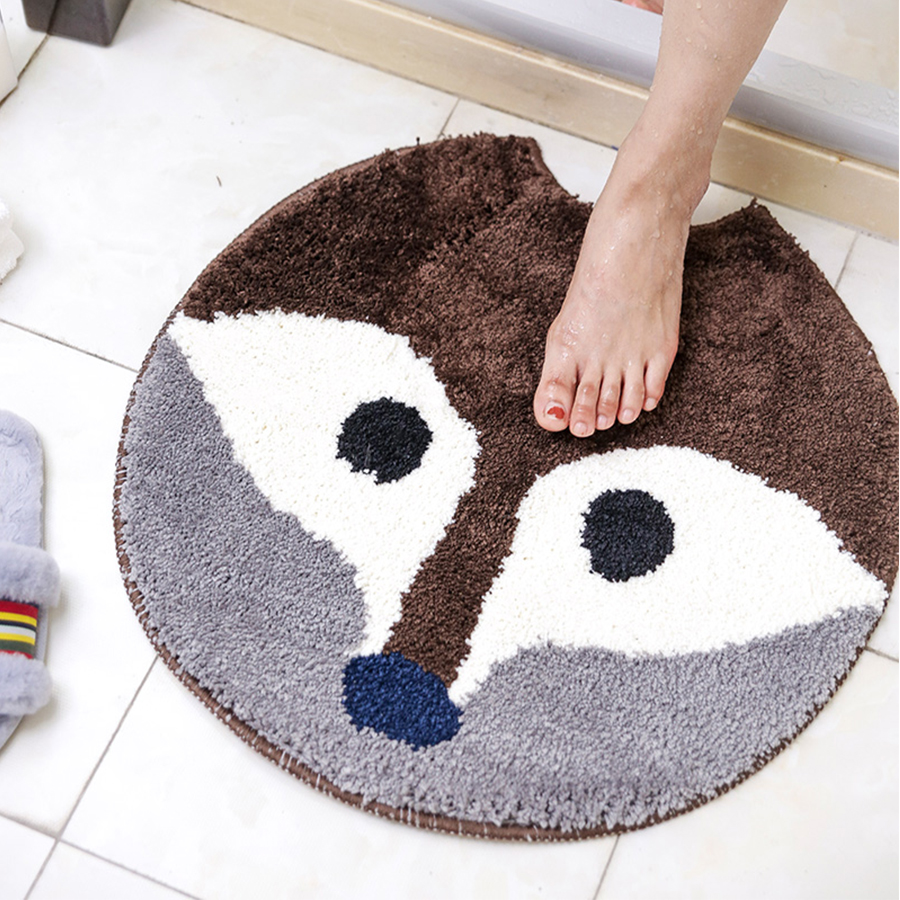 Cute Cartoon Animal Round Bathroom Mat Non-Slip Living Room Crawling Mat for Kids Children Room Rug