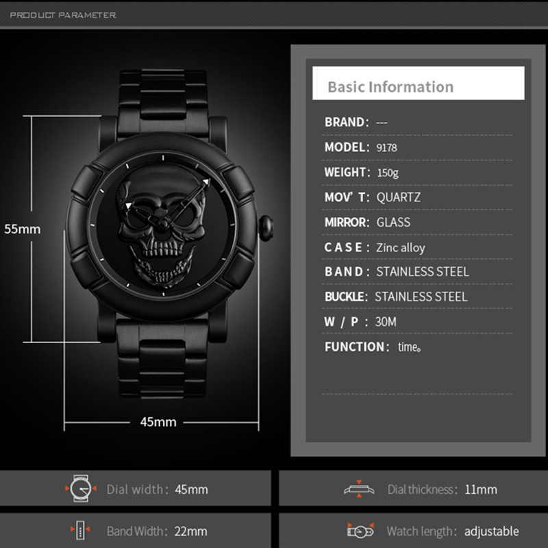 Montres hommes marque de luxe étanche analogique militaire créer crâne en acier inoxydable horloge mâle Quartz montre-bracelet reloj hombre