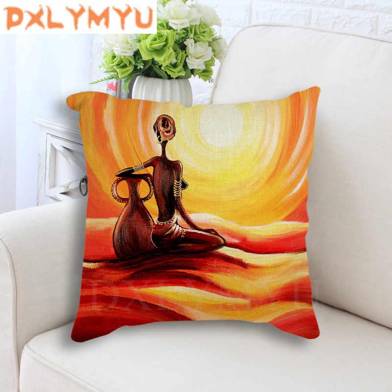 Caráter estilo africano pintura a óleo abstrata Almofada De Linho Sofá Capa de Almofada Caso Jogar Travesseiro Decorativo para Sofá home decor