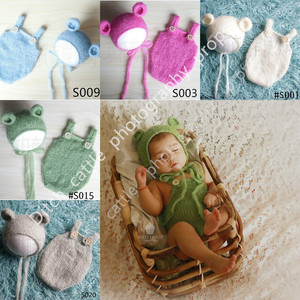 Newborn photography props, handmade mohair teddy bear hat + shorts, photographic background, basket filler(China)