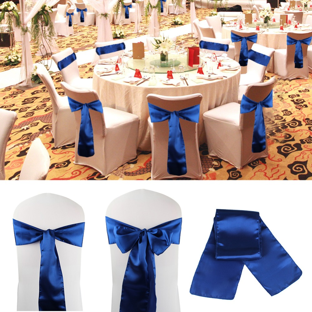 OurWarm 15cmx275cm Chair Sashes Cotton Chair Bows Ties Satin Cover For Wedding Banquet Party Events Decor Supplies 8 Colors in Party DIY Decorations from Home Garden