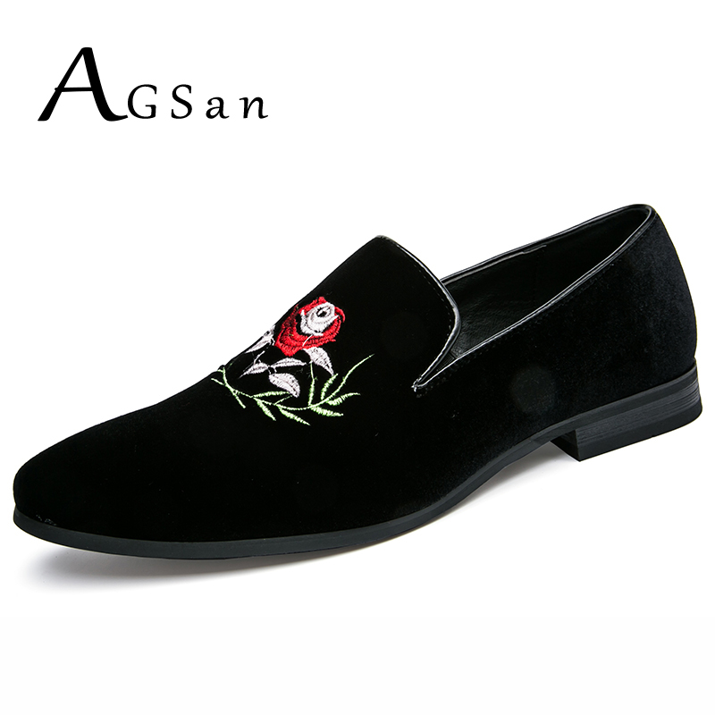 AGSan new style fashion men loafers black embroidery flower handmade men velvet shoes luxury brand party and wedding dress shoes new style fashion men loafers gold embroidery handmade men velvet shoes party and wedding men s flat size us 6 14 freeshipping