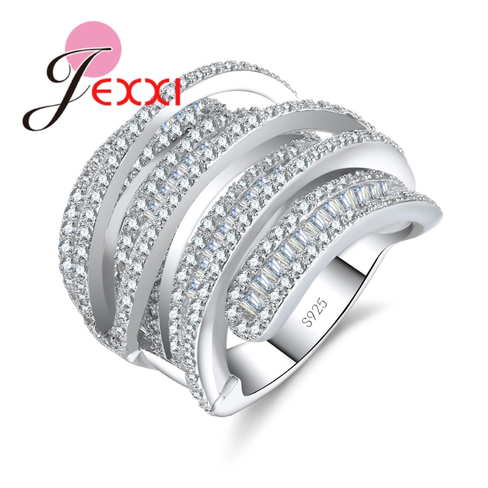 JEXXI New Fashion Hollow Ring Women Wedding Engagement Popular Multilayer Band Hot Sale 925 Sterling Silver Finger Ring for Lady