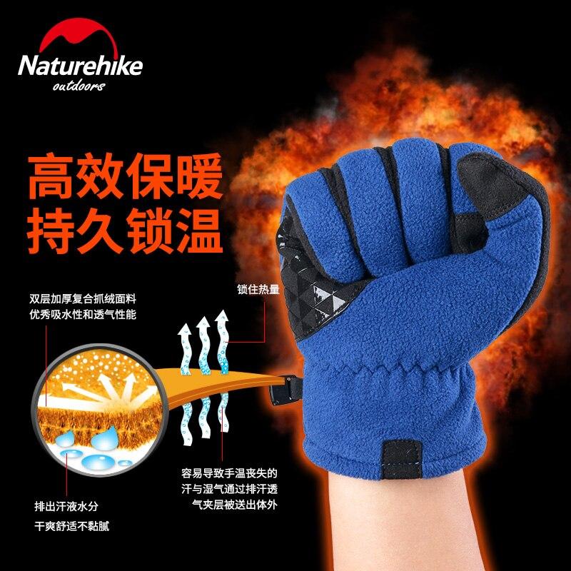 NatureHike Winter Men Women Outdoor Sports Warm polar Fleece Touch Screen Gloves Full Finger Climbing Cycling DAYU Gloves