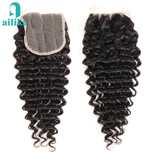 AILIKA Hair Brazilian Deep Wave Closure 130% Density 4×4 100% Human Hair Deep Curly Lace Closure Free Middle Three Part Non Remy