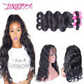 Malaysian Body Wave Bundles With Frontal 360 Lace Frontal With Bundle  Natural Black Color  Pre Plucked 360 Frontal With Bundles