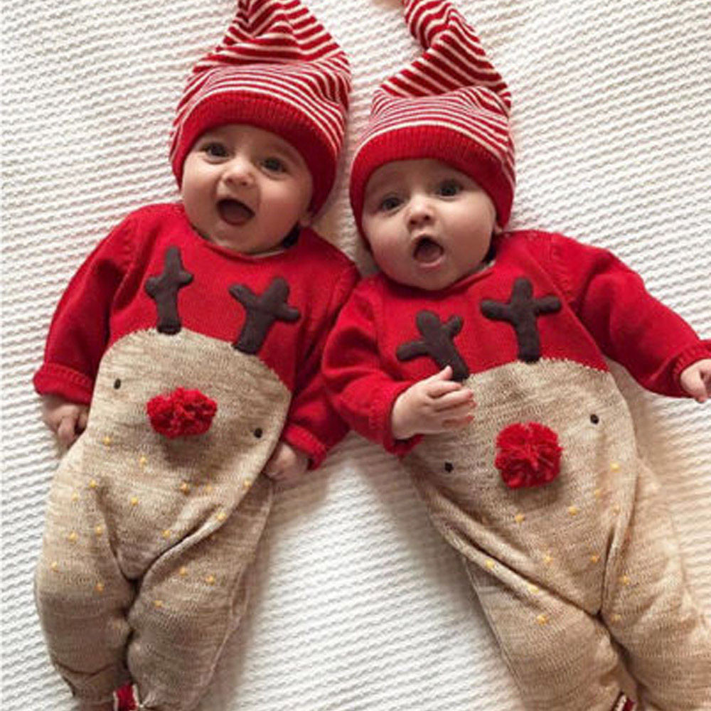 New Year Christmas Jumpsuit Outfits Clothes Sweater Deer Character Toddler Boys Girls Baby Knitted Romper Knitted Cotton BFOF