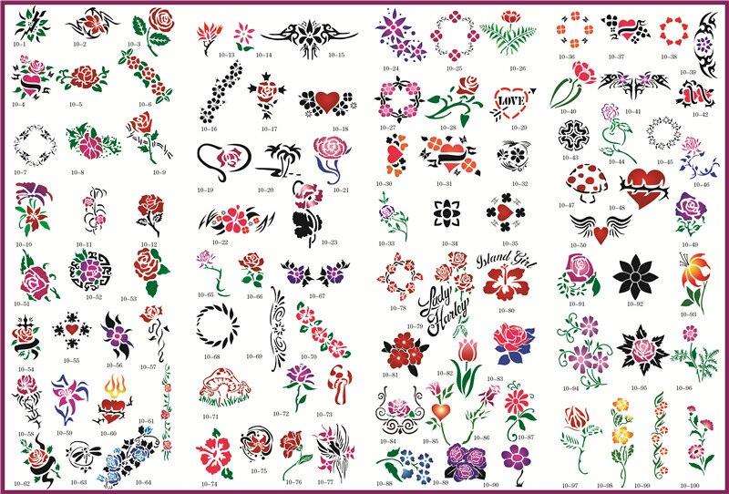 все цены на  Template tattoo golden phoenix NO.10 airbrush tattoo stencils 100pcs flowers series picture  онлайн