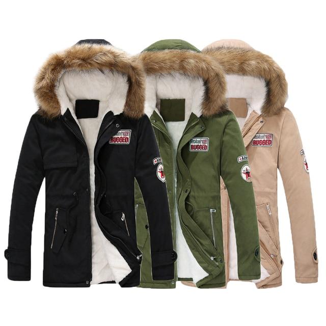 Parka Männer Mäntel 2018 Winter Jacke Männer Schlank Verdicken Fell Kapuze  Outwear Warme Mantel Top Marke c6cbe84dd6