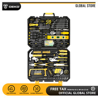 DEKO Hand Tool Set Household Repair Hand Tool Kit with Plastic Tool box Storage Case Plier Socket Wrench Saw Screwdriver Knife