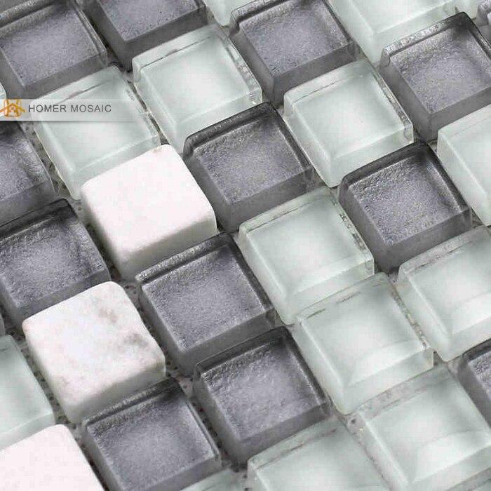 ᐂGris vidrio mezclado piedra blanca mosaico para baño, azulejos ...