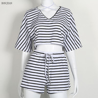 Free Shipping Woman Europe And The United States V Collar Navel Fashion Comfortable Thin Stripe Short