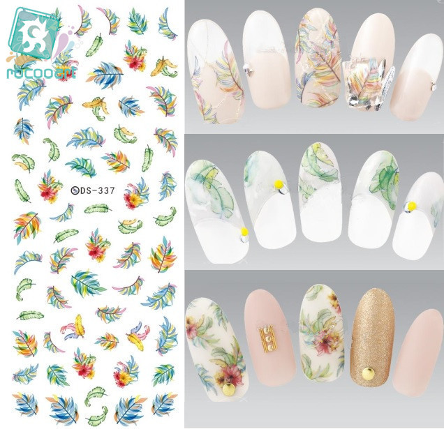 Rocooart DS337 Water Transfer Nails Art Sticker Harajuku Elements Colorful Feather Leaf Nail Wraps Sticker Manicura Decal ds336 new design water transfer nails art sticker harajuku elements blue red shrimp shell nail wraps sticker manicura decal