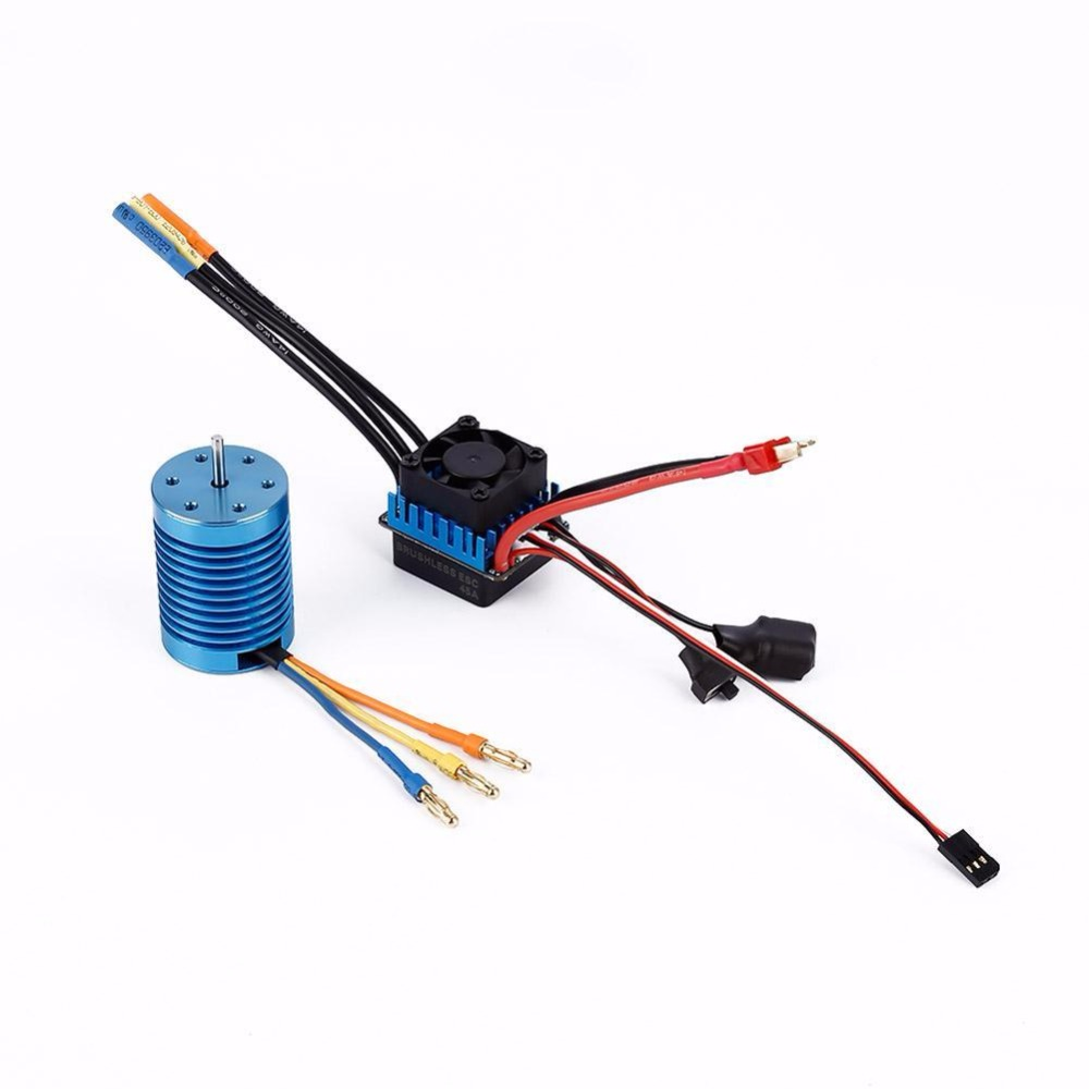 3650 4370KV Slot Sensorless Brushless Motor+45A Brushless ESC for 1/10 RC Car 3650 3900kv 4p sensorless brushless motor 60a brushless elec speed controller esc w 5 8v 3a switch mode bec for 1 10 rc car