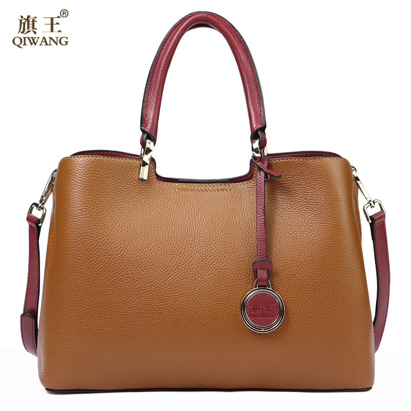 Brown Genuine Cow Leather Handbags for Women Qiwang Luxury Brand Shoulder Bag Fashion Top handle Tote Bag 2019 Ladies Hand Bags-in Top-Handle Bags from Luggage & Bags    2