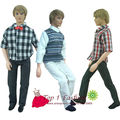 free shipping 3 sets/pack handmade casual clothes shirt suit and pants trousers for barbie boy firend for barbie doll ken