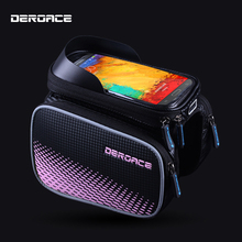 DEROACE Bicycle Bag Rainproof Bike Bicycle Front Head Bag Top Tube Double IPouch Cycling Pannier 5.5 Inch Touch Screen 5 colours