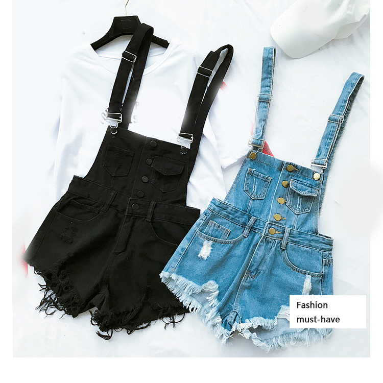 New style college wind cowboys back to wear shorts women summer holes loose Korean version of students show thin suspenders pants (4)