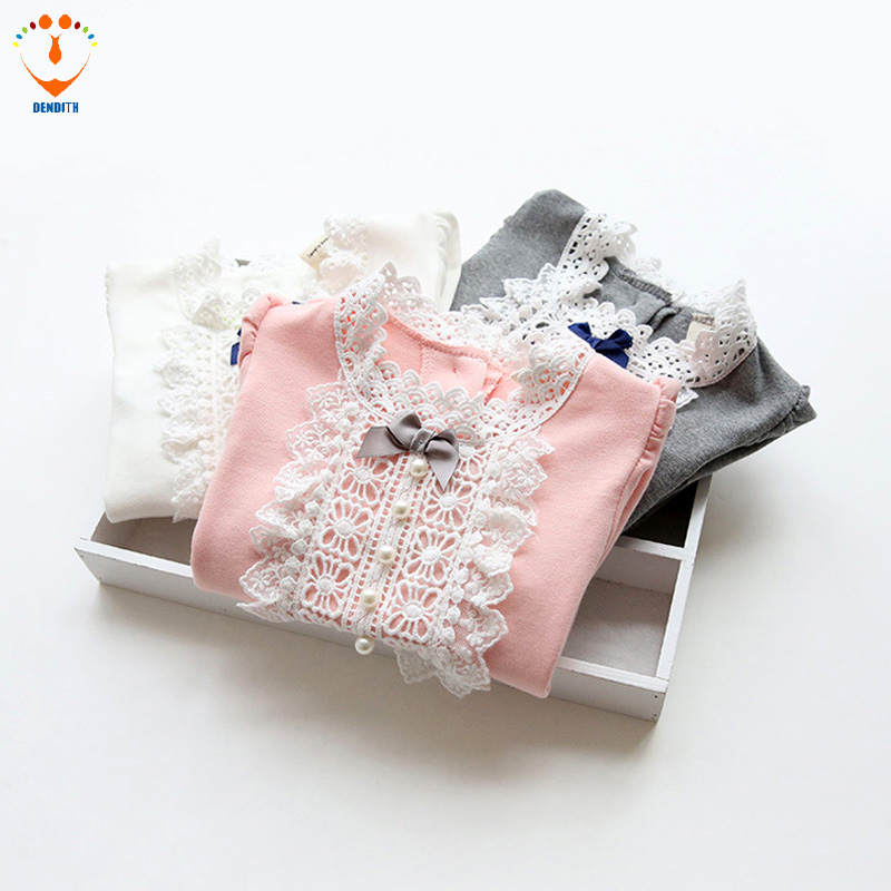 autumn and winte Cotton baby girls lace T Shirt Solid Full Long Sleeve Girls T-Shirt Children Tops Tee long sleeve lace back cold shoulder t shirt