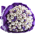 Luxury handmade purple pearls bridesmaid bridal bouquet for wedding with pearls and purple silk ribbon wedding accessories