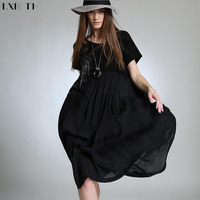 LXMSTH Cotton Linen Dress Summer 2019 New Elegante Short Sleeve Casual Long Loose Dresses Women's Thin Printing Dress Plus Size