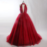 LZF030 Sexy Women's Evening Dresses Long Deep v Neck Tulle Formal Evening Party Dress for Women 100% Real Picture