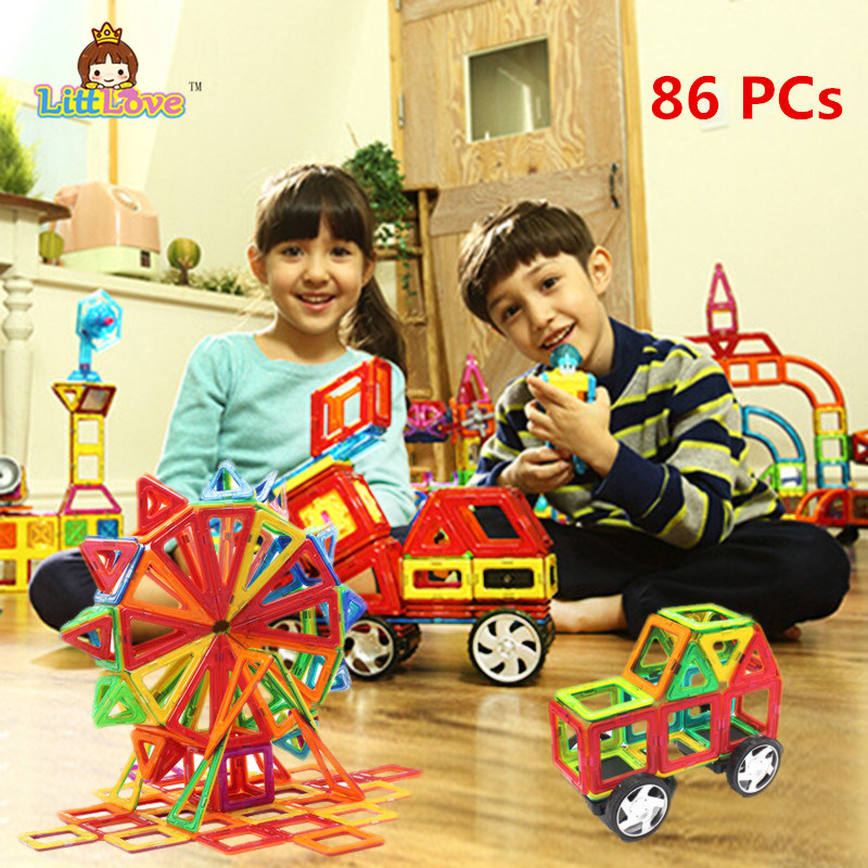 86PCS Regular Enlighten Bricks Educational Magnetic Designer Toy Square Triangle DIY Building Blocks Bricks Toys for Children triangle ru bun lock children puzzle toy building blocks