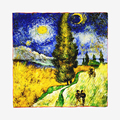 "Van Gogh's Oil Painting Silk Scarf New Brand Square Women Shawls & Wraps Works ""Road with Men Walking"""