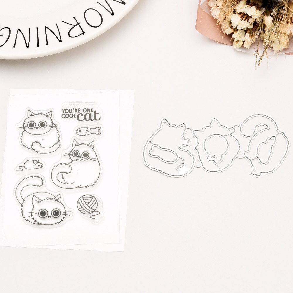 Cat CLEAR STAMPS Metal Cutting Dies or Transparent Clear Stamp for Scrapbooking DIY Embossing Folder Template Crafts autumn winter female long wool knitted dresses turtleneck slim lady accept waist package hip pullovers sweater dress for women