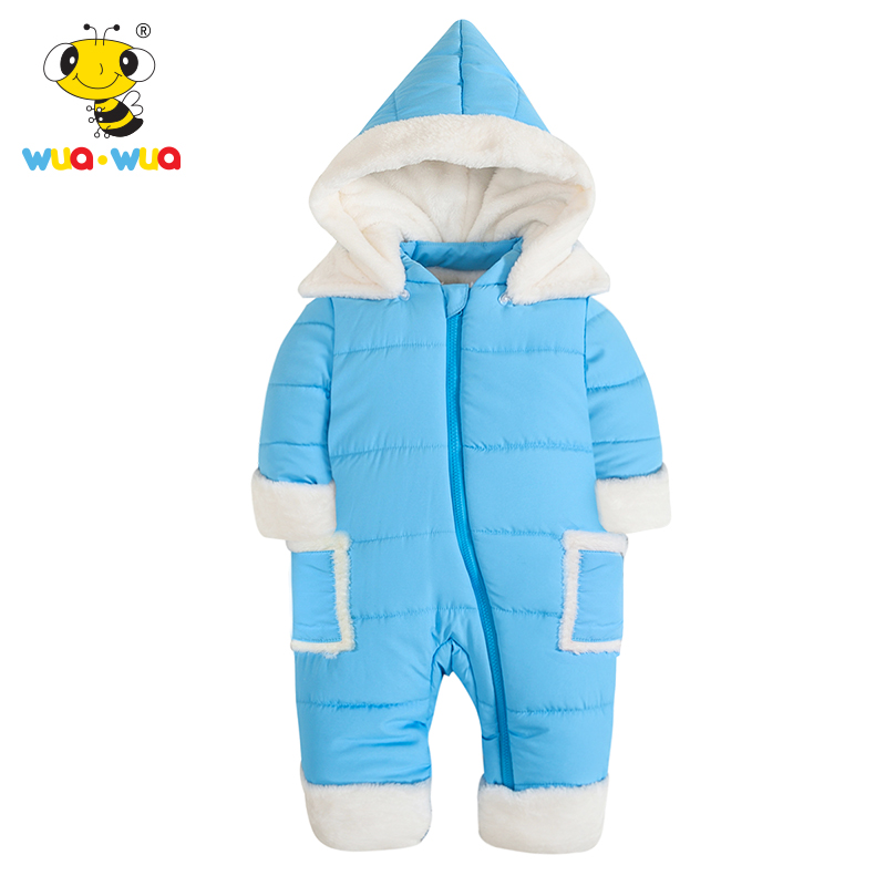 Wua Wua Winter Baby Romper Zipper Children's Warm Velvet One Piece Newborn Baby Girls Boys Clothes Red Infant Thicken Jumpsuit puseky 2017 infant romper baby boys girls jumpsuit newborn bebe clothing hooded toddler baby clothes cute panda romper costumes