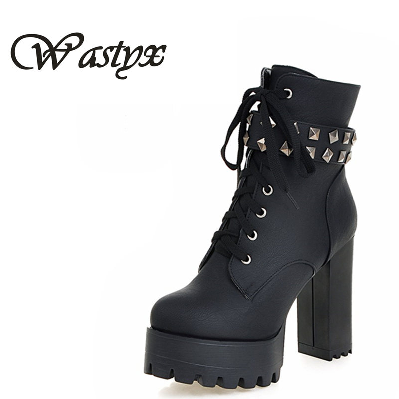 Wastyx new women boots Big Size 34-48 Lace Up Mid Calf Women Boots Shoes New Square Heel High Boots Winter Fashion Platform Pump купить дешево онлайн