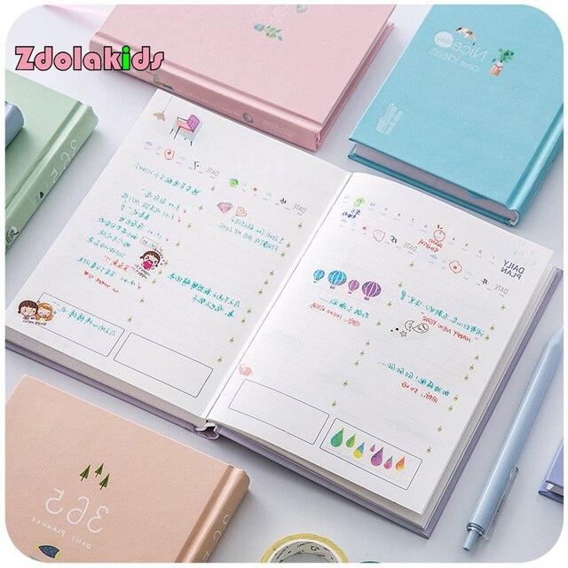 Nueva llegada 365 días planificador diario Personal cuaderno tapa dura horario semanal lindo coreano papelería flor Agenda
