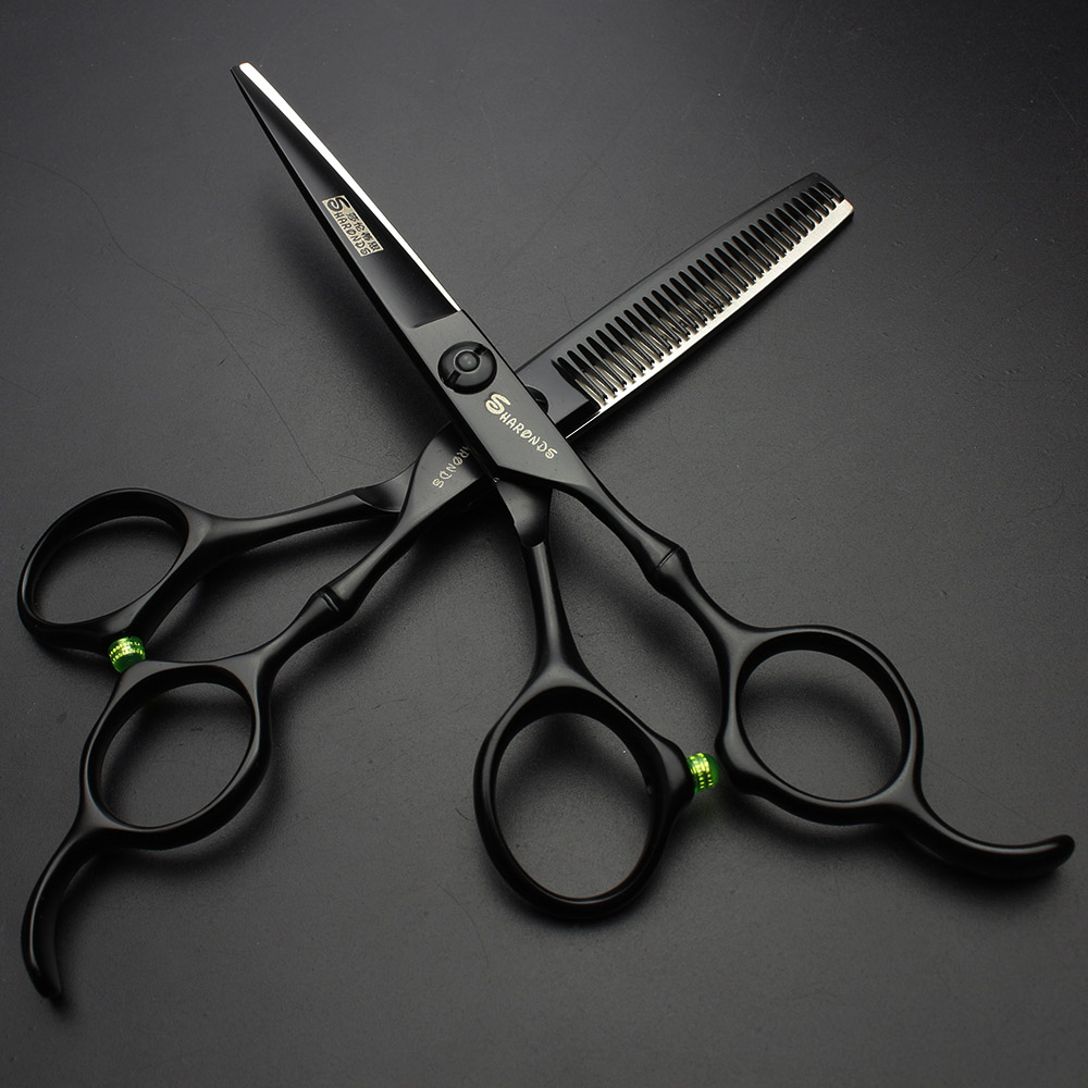 Sharonds 6 Inch Black Professional Hairdresser Scissors Japan 440c Salon Barber Shop Cutting Scissors Thinning Scissorshairdressing scissorshair scissorshair scissors set -