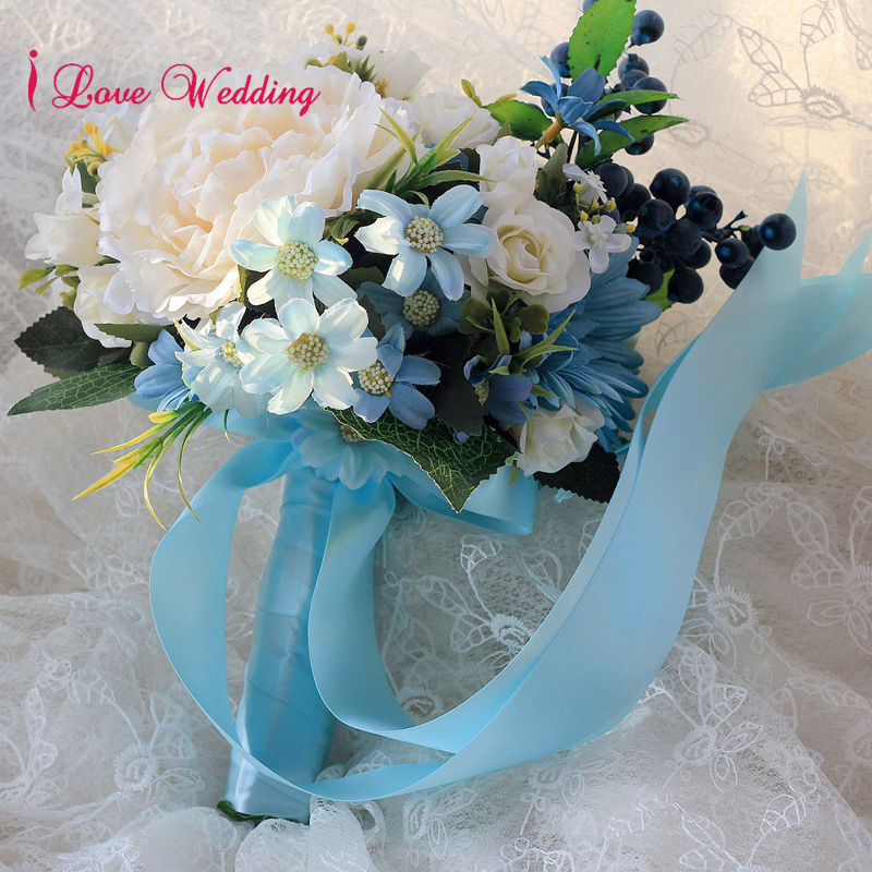 Handmade Blue Wedding Bouquet with Ribbon bouquet de mariage Artificial Silk Flower Bride Bridesmaid buque noiva Free Shipping