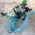 Handmade Blue Wedding Bouquet with Ribbon bouquet de mariage Artificial Silk Flower Bride Bridesmaid buque noiva Free Shipping