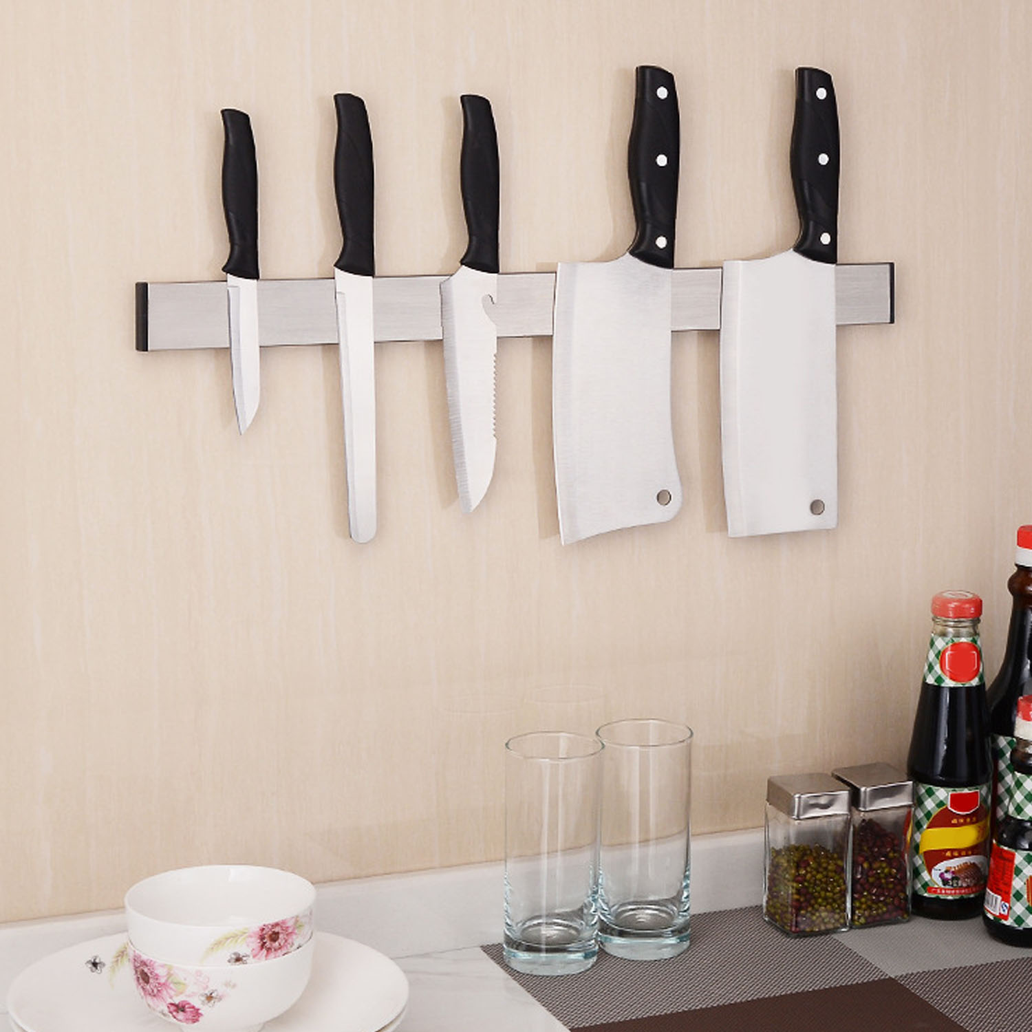 Behogar Magnetic Self-adhesive 12.2 Inches Length Knife Holder Stainless Steel Block Magnet Knife Holder Rack Stand For Knives