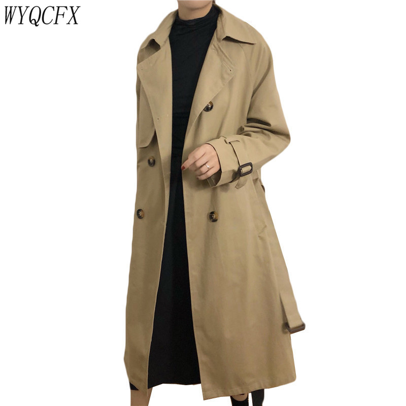 Spring Autumn   Trench   Coat Women Fashion Korean With Belt Loose Khaki Color Windbreaker Female 2019 Casual Elegant Long Overcoat
