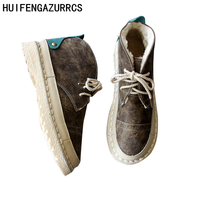 HUIFENGAZURRCS   รองเท้าสั้นรองเท้าสตรีและรองเท้าข้อเท้า, โบราณรองเท้าหนังแบน, handmade รองเท้าฤดูใบไม้ร่วงฤดูหนาว-ใน รองเท้าบูทหุ้มข้อ จาก รองเท้า บน AliExpress - 11.11_สิบเอ็ด สิบเอ็ดวันคนโสด 1