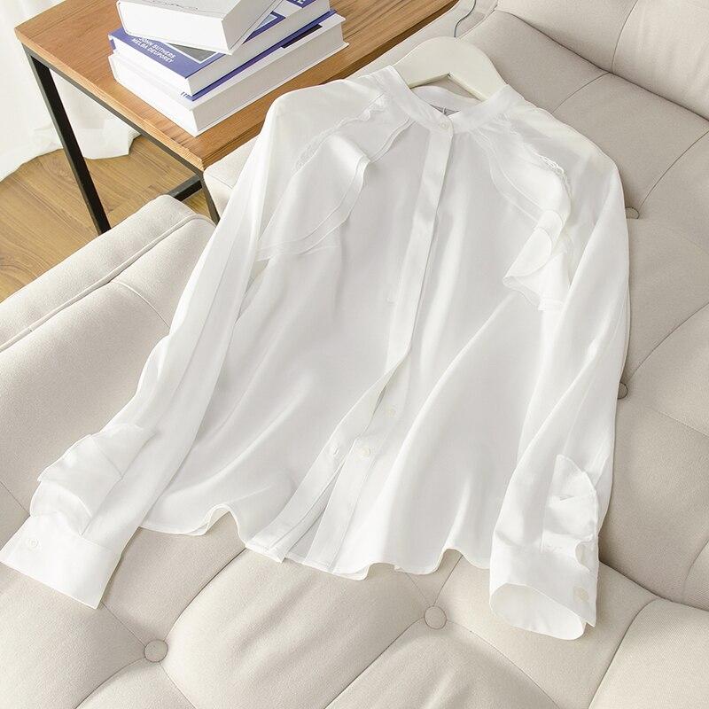 100 Office Réel Blanc Automne Bouton Soie Lady Top Chemise 2018 Nouveau Casual Blusas Femininas Hiver Femmes EUq1wU